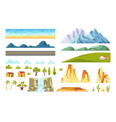 Landscape constructor isolated elements vector