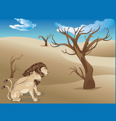 Landscape with lions vector