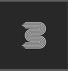 letter b logo monogram initial smooth parallel vector image