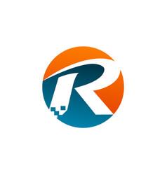 letter r logo technology logo design concept vector image