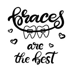 lettering with braces on teeth vector image
