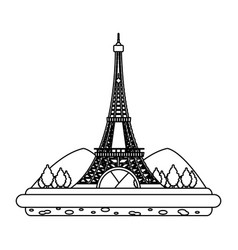 line eiffel tower with mountainsand trees vector image