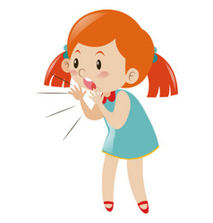 Little girl in blue dress shouting vector