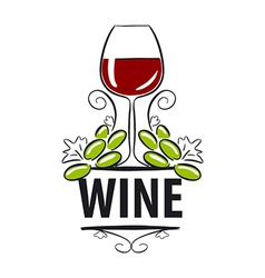 Logo glasses of wine and grapes vector