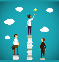 Man standing on a stack of books scientific vector
