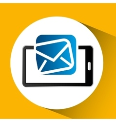 Mobile phone icon email social media vector