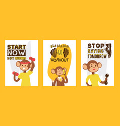 monkey like people sport character vector image