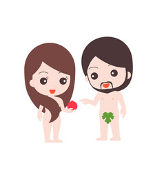Naked adam and eve vector