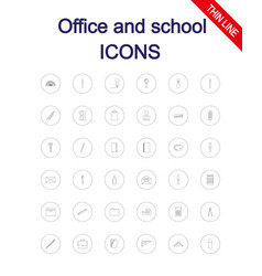 Office and school supplies icons set vector