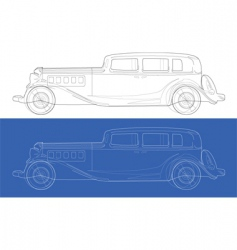 old cars blueprints vector image