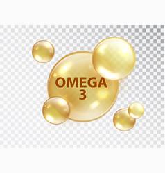 Omega 3 pill vitamin capsule oil bubble isolated vector