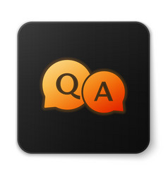 Orange glowing speech bubbles with question and vector