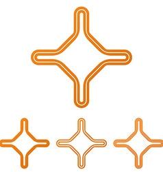 Orange line corporate logo design set vector