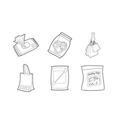 Packet icon set outline style vector