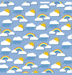 pastel background clouds with rainbow sun vector image