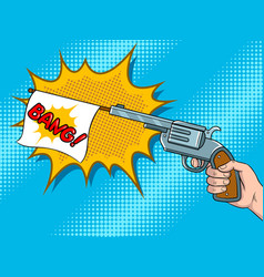 pistol with white flag comic book pop art vector image