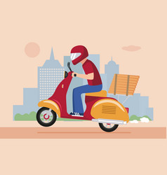 Pizza delivery man riding a scooter vector