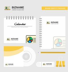 presentation on laptop logo calendar template cd vector image