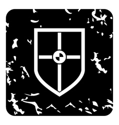 Protection shield icon grunge style vector