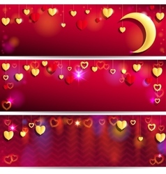 Red and Golden Hearts vector image