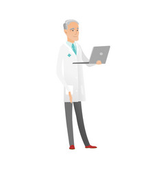 senior caucasian doctor using a laptop vector image