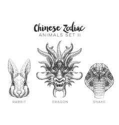 Set hand drawn chinese zodiac animal vector