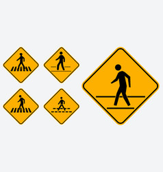 set of pedestrian walk sign easy to modify vector image