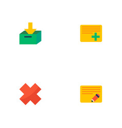 Set of project icons flat style symbols with add vector