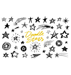 set star signs doodle style collection of vector image