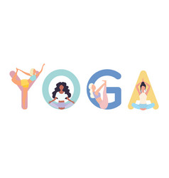 set yoga positions woman in various poses of vector image