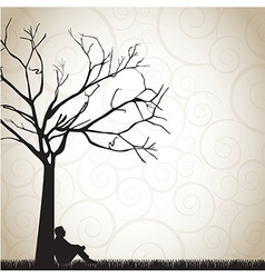 Silhouette a pensive man under a tree vector
