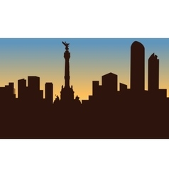 Silhouette of mexico city and monument vector