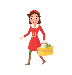 Smiling woman in warm coat buying presents on xmas vector