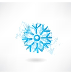 snowflake grunge icon vector image