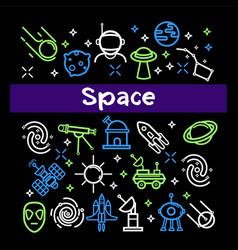 space themed elements in bright neon colors set vector image