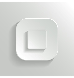 Stop - media player icon - white app button vector image
