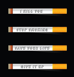 Stop smoking and save life icon on black vector