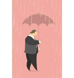Stylized man under an umbrella in the rain vector image