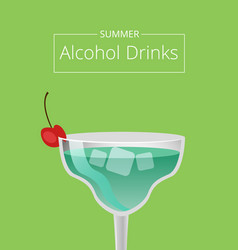 summer alcohol drinks advert poster blue cocktail vector image