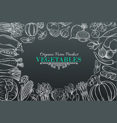 Template with hand drawn vegetables vector