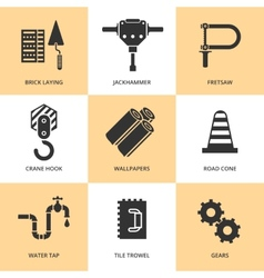 Trendy flat working tools icons black silhouettes vector image