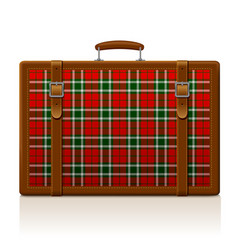 vintage brown threadbare suitcase with tartan vector image