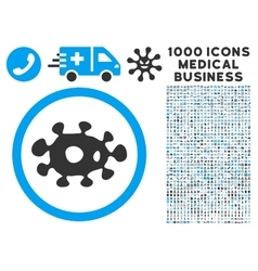 Virus Icon with 1000 Medical Business Pictograms vector image