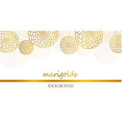 White banner with golden marigolds vector