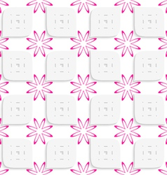 White geometrical perforated leaves and pink vector