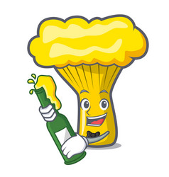 With beer chanterelle mushroom mascot cartoon vector