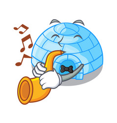 With heart igloo ice house isolated on mascot vector