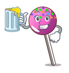 With juice lollipop with sprinkles mascot cartoon vector
