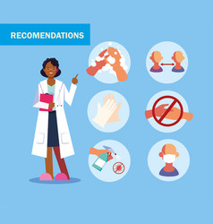 Woman doctor explain infographics how prevent the vector