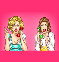 women talk on the phone excited housewives vector image